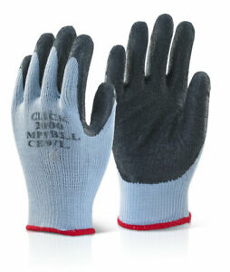 MP1 Click 2000 Builders, Scaffolders Latex Grip Work Gloves 100 pairs Mix