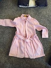GENUINE RALPH LAUREN GIRLS WHITE/PINK CANDY STRIPED DRESS - AGE 3 Years