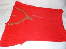 Izod Tank Top Casual Vest Ladies Blouse Size L Sexy Woman Short Sleeve in Orange