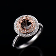 Natural Diamond Semi Mount Prong Halo Engagement Ring Round 6.5mm 14K 2Tone Gold