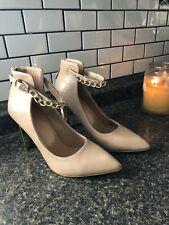 VERSACE Woman's V1969 Gold Heel Shoes Nude Beige Stiletto SZ 7.5