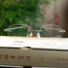 Titanium Rimless womens oval Flexible Optical Eyeglasses Frames Rx lens glasses