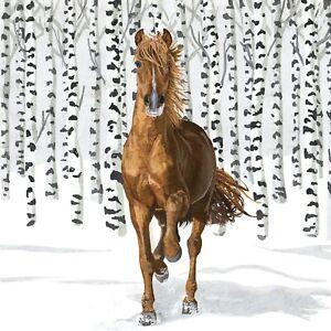 4 x Single Paper Table Napkin/3-Ply/33cm/Decoupage/Christmas/Wilderness Horse