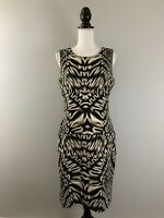 CALVIN KLEIN Bodycon Sheath Dress Black Tan Print Sleeveless Stretch Size 10