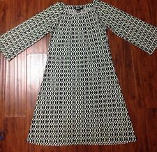DKNY Black White Green Geometric Print Boat Neck Long Sleeve Belted Sz S P Dress