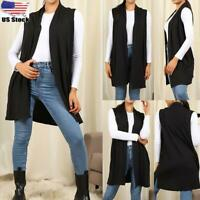 Womens Shawl Collar Open Front Vest Tunic Top Draped Sleeveless Long Cardigan