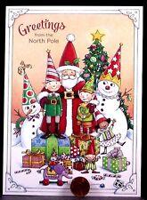 Christmas Mary Engelbreit Santa Elves Snowmen Presents Toys Greeting Card-UNUSED
