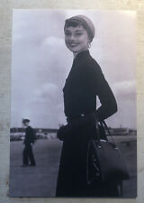 Movie Postcard ~ Audrey Hepburn outside with coat and purse  B&W