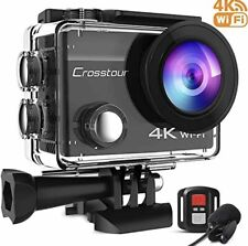 Crosstour 4K Action Camera 20MP with External Microphone WiFi Vlogging Cam New