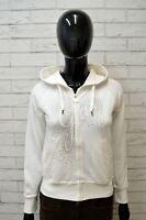 Felpa Donna GAS Taglia S Shirt Pullover Cardigan Maglione Bianca Cappuccio White