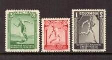 Colombia - 1937 National Games Scott #445-447 - Vf Mnh