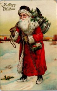 Antique Christmas Postcard - Santa Claus Carrying 3 Silver Bells - Unposted
