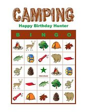 Camping Hiking Outdoor Fishing Traveling Birthday Party Game Bingo