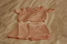 New Ciccino Pink Cotton Knit Top and shorts Size 1 M Made in Italy