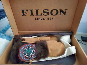 Filson X Astis Womens Rabbit Fur/ Suede Handbeaded Mittens, Lim Edition, Rare
