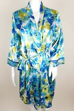Gilligan and O'Malley Womens Robe Size S/M Satin Floral Blue 3/4 Sleeve