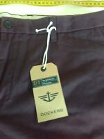 Mens Dockers Pants, Flat Front, New, W38, L29, Slim Fit, Khaki Diem, Maroon
