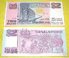Singapore $2 Ship Series Dollar 2 Piece Pair (Purple)