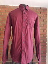 Guess Long Sleeve Burgundy Casual Shirt Size Small