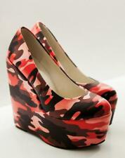 Womens Slip on Camouflage Wedge Shoes High Heels Army Green Clubwear Round Toe