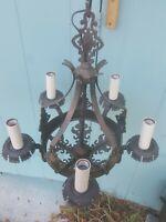 Antique hammered brass or copper  5 Light Chandelier w Shields Spanish Revival