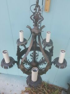 2 Antique hammered brass or copper  5 Lights Chandeliers w Shields