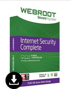 Webroot SecureAnywhere Internet Security COMPLETE 2021, 3 Devices 1Year WITH DVD