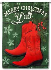 Merry Christmas Y'All Cowgirl Cowboy Boots Holly Mini Window Garden Yard Flag N