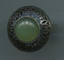 "Um 1900 alter+hübsch+selten Punze:""Kopf""+""Vogel""+Lilien runder Silber Ring+Jade?"