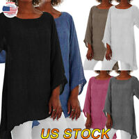 Plus Size Women O-Neck Summer Tops Long Sleeve Tunic Loose Cotton Linen Blouses