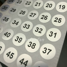 400 Serial number 1 to 100 Label Stickers 10mm Silver Round Waterpproof