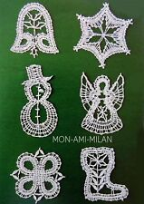 Xmas Tree Decorations Bobbin Lace-Making Pattern Copy Angel Star Snowman Bell +