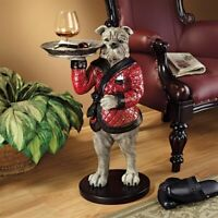 "27"" British Bulldog Hound Dog Butler Sculpted Novelty Tray Table"