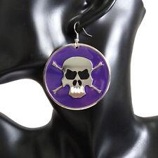 Junior Womens Cute Cool Purple Plate Skull Head Dangle Drop Hook Earrings HOT