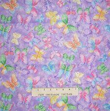 Make Believe Glitter Butterflies on Purple - Fabric Traditions Cotton YARD