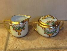 Moritz Zdekauer MZ Austria Porcelain Hand Paint Sugar Creamer 1915 MARKED LANSER