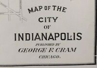"Vintage 1903 INDIANAPOLIS INDIANA Map 22""x14"" ~ Old Antique Original MARION CTY"