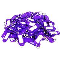 (Lot of 100) Key ID Tags Labels Keychain Split Key Ring Name Tag Purple USA Ship