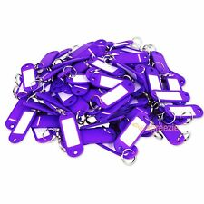 (Lot of 100) Key ID Tags Labels Keychain Split Key Ring Name Tag Purple USA Ship