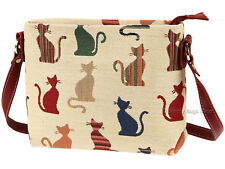 Signare Ladies Woven Tapestry Across Body Shoulder Bag In Cheeky Cat Design