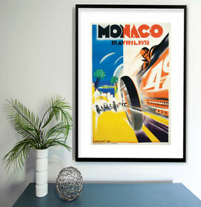 """Vintage print poster for glass frame 36"""" x 24"""" art Monte Carlo Car Race Racing"""