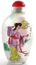 Vintage Japanese Woman Painted Frosted Glass Reverse Painted Snuff Bottle Y415