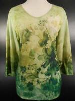 Beautiful Women's Large Coldwater Creek Green Floral 3/4 Sleeve Knit Blouse GUC
