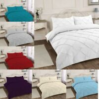 LUXURY PINTUCK DUVET COVER QUILT BEDDING SETS 100%PERCALE SINGLE DOUBLE KING SET