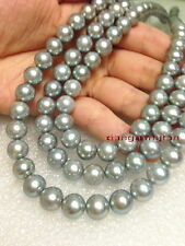 "round long AAAAA 48""10-11mm REAL NATURAL south sea gray pearl necklace 14K gold"
