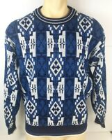 Vintage Botany 500 Mens Blue Geometric Cosby Knit Sweater Pullover Sz Large L