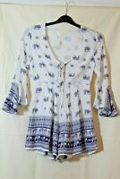 LOVE AND OTHER THINGS WHITE BLUE ELEPHANTS PLAYSUIT SIZE S BOHO FESTIVAL SUMMER