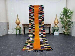 "Moroccan Handmade Vintage Rug 2'6""x9'7"" Berber Checkered Orange Blue Carpet"