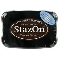 StazOn - Permanent Solvent Ink Pad - Timber Brown For Glass