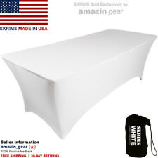 NEW! PRO DJ Table Scrim, 4' WHITE Stretch Spandex Cover w/ Cable Holes +FRE